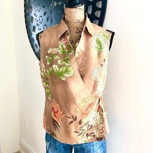 100% Silk Floral Wrap Top